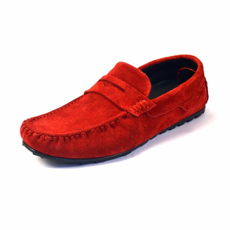 Мокасины мужские красные замшевые стильные летняя обувь ETHEREAL Classic Red Vel by Rosso Avangard