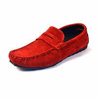Мокасины мужские красные замшевые стильные летняя обувь ETHEREAL Classic Red Vel by Rosso Avangard, фото 1