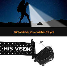 Фонарь налобный Hisvision светодиодный  600 люмен с датчиком движения, фото 3