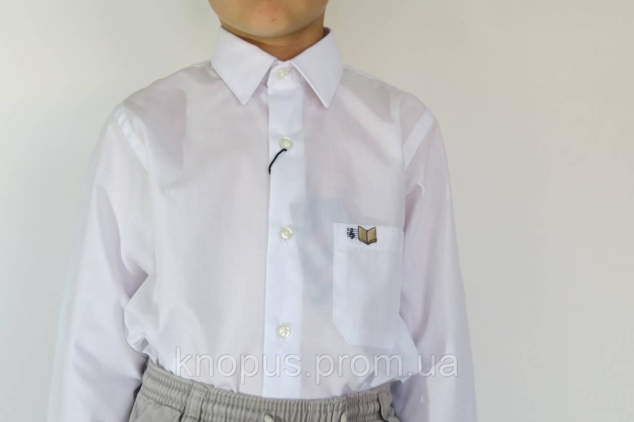 Рубашка для мальчика белая с вышивкой на кармане, Davanti, Украина. Размерный ряд 6-18 лет.