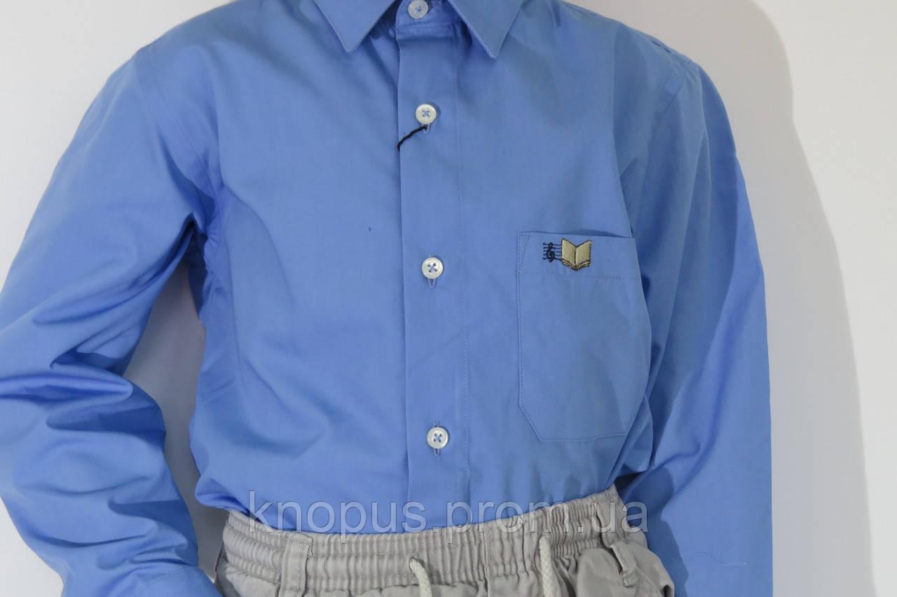 Рубашка для мальчика темно-голубая с вышивкой на кармане, Davanti, Украина. На  6-18 лет.