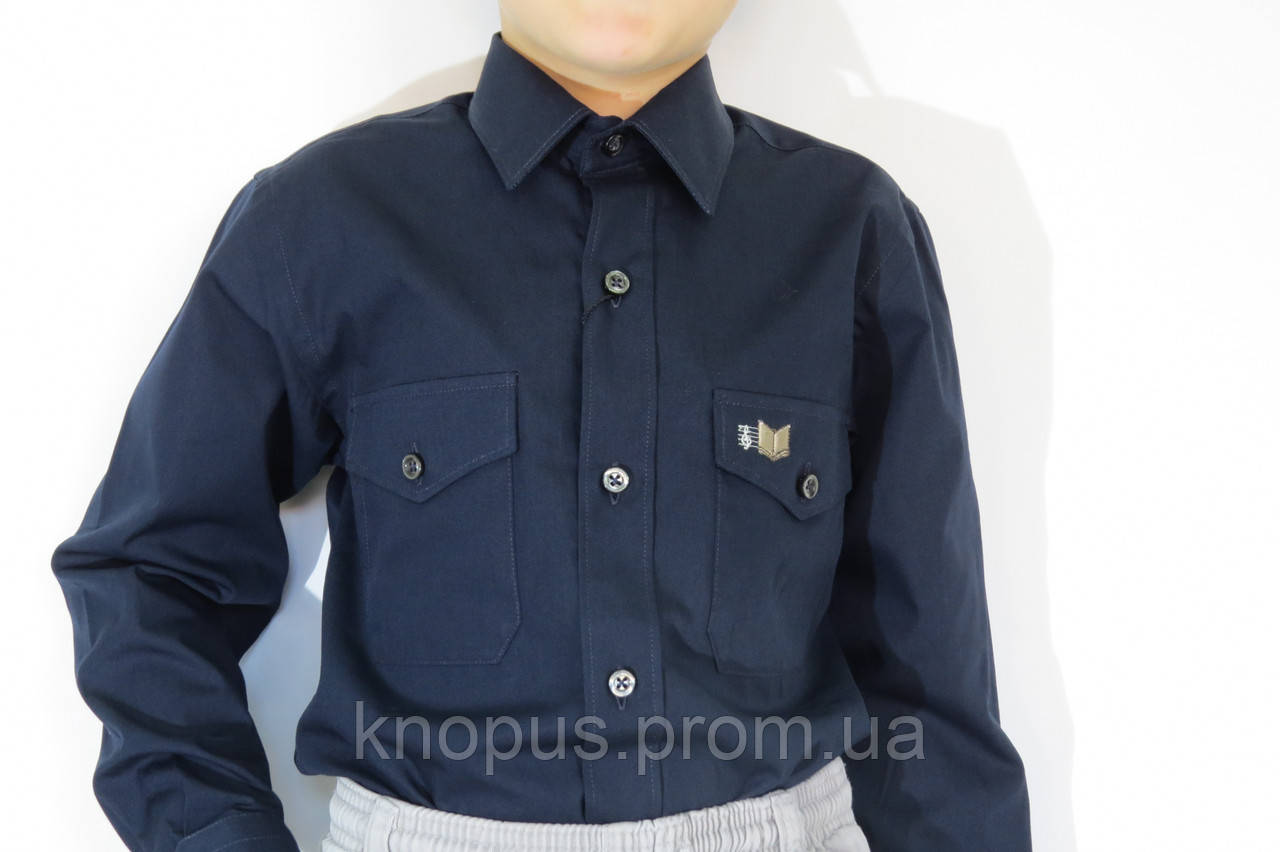 Рубашка для мальчика темно-синяя с вышивкой на кармане, Davanti, Украина. Размерный ряд 6-18 лет.
