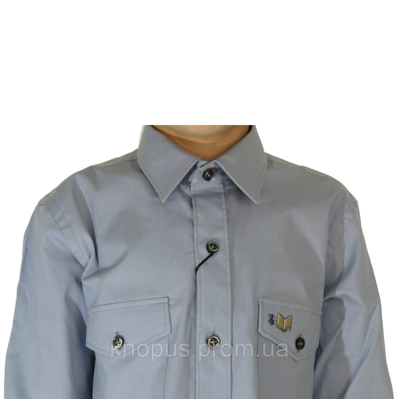 Рубашка для мальчика серая с вышивкой на кармане, Davanti, Украина. Размерный ряд 6-18 лет.