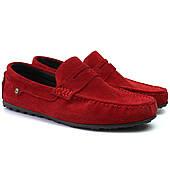 Красные замшевые мокасины мужская обувь ETHEREAL Italy Ferarri Barn Red Vel by Rosso Avangard