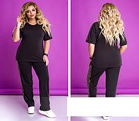 Жіночий костюм спортивний зі вставками, чорний з 50 по 64 розмір, фото 1