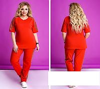 Женский костюм спортивный со вставками, красный с 50 по 64 размер, фото 1