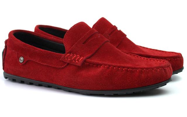 Красные замшевые мокасины мужская обувь ETHEREAL Italy Classic Barn Red Vel by Rosso Avangard