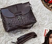 Клатч Женский, Рептилия в коричневом цвете , кожаные сумки, фото 1