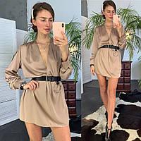 Шикарное шелковое платье рубашка с поясом в комплекте