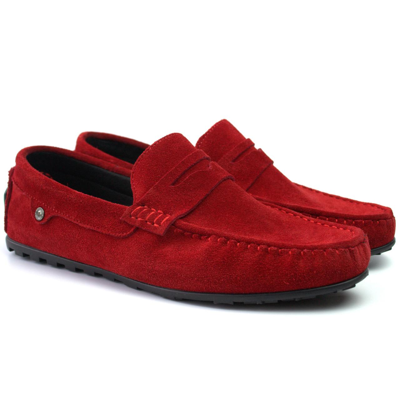 Красные замшевые мокасины мужская обувь большой размер ETHEREAL Ferarri Barn Red Vel BS Rosso Avangard