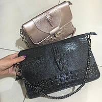 Клатч Женский, Рептилия в черном , пудровом цвете , кожаные сумки, фото 1