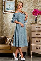 Модное коттоновое платье длины миди рукав фонарик 44-50 размер, фото 1