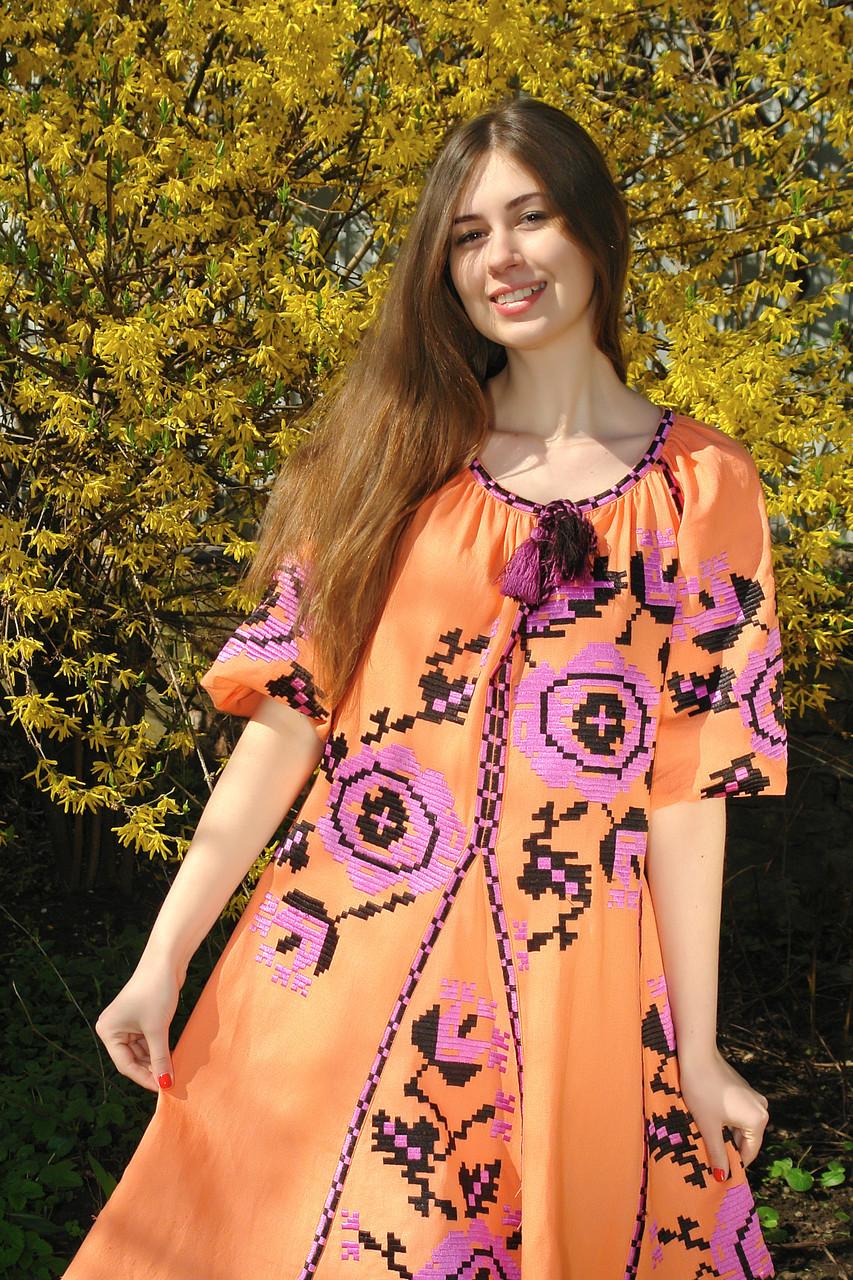 """Сукня вишита """"Троянди"""" міні,  помаранчевий колір, 4 клина, льон"""