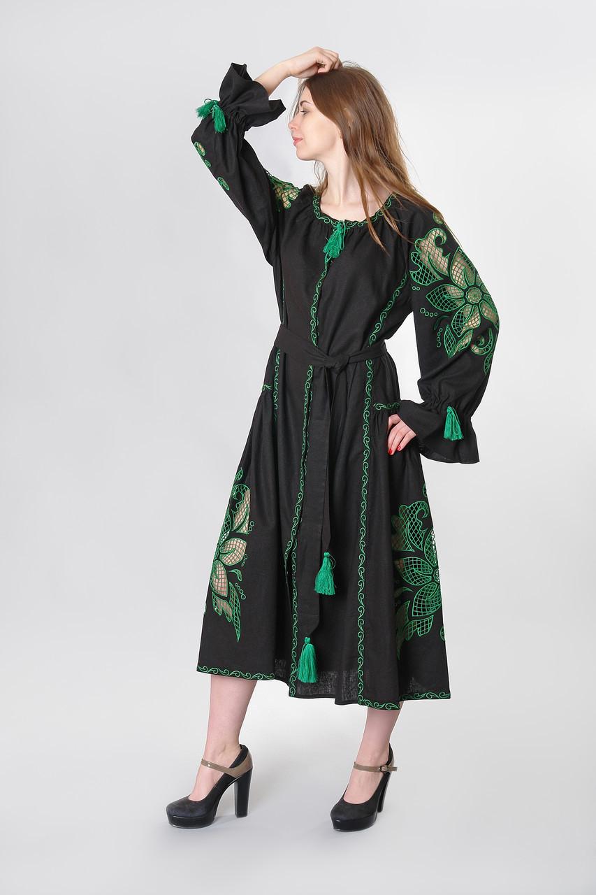 """Сукня вишита """"Диво-квітка максі"""" з зеленою вишивкою"""