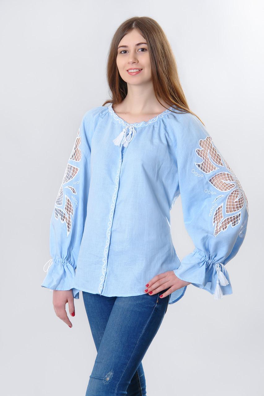 Блуза жіноча Диво-квітка, білий колір