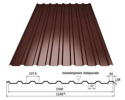 Профнастил кровельный  ПК-20 шоколадный толщина 0,45 размер 3 Х1,16м, фото 2