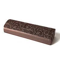 Футляр на магните, с рисунком, пресс кожа с блеском, (150х45х30) коричневый