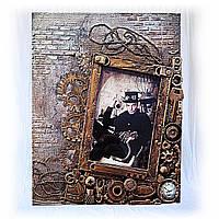 Мужская фоторамка в стиле steampunk  Подарок мужчине парню Ручная работа