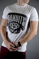 Футболка Bandits style белая + шорты бордовые мужские летние, фото 1