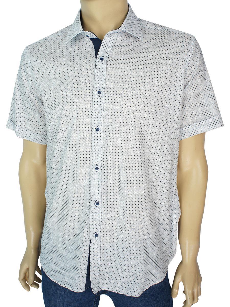 Летняя мужская светлая рубашка Negredo H-9070 Slim С короткий рукав