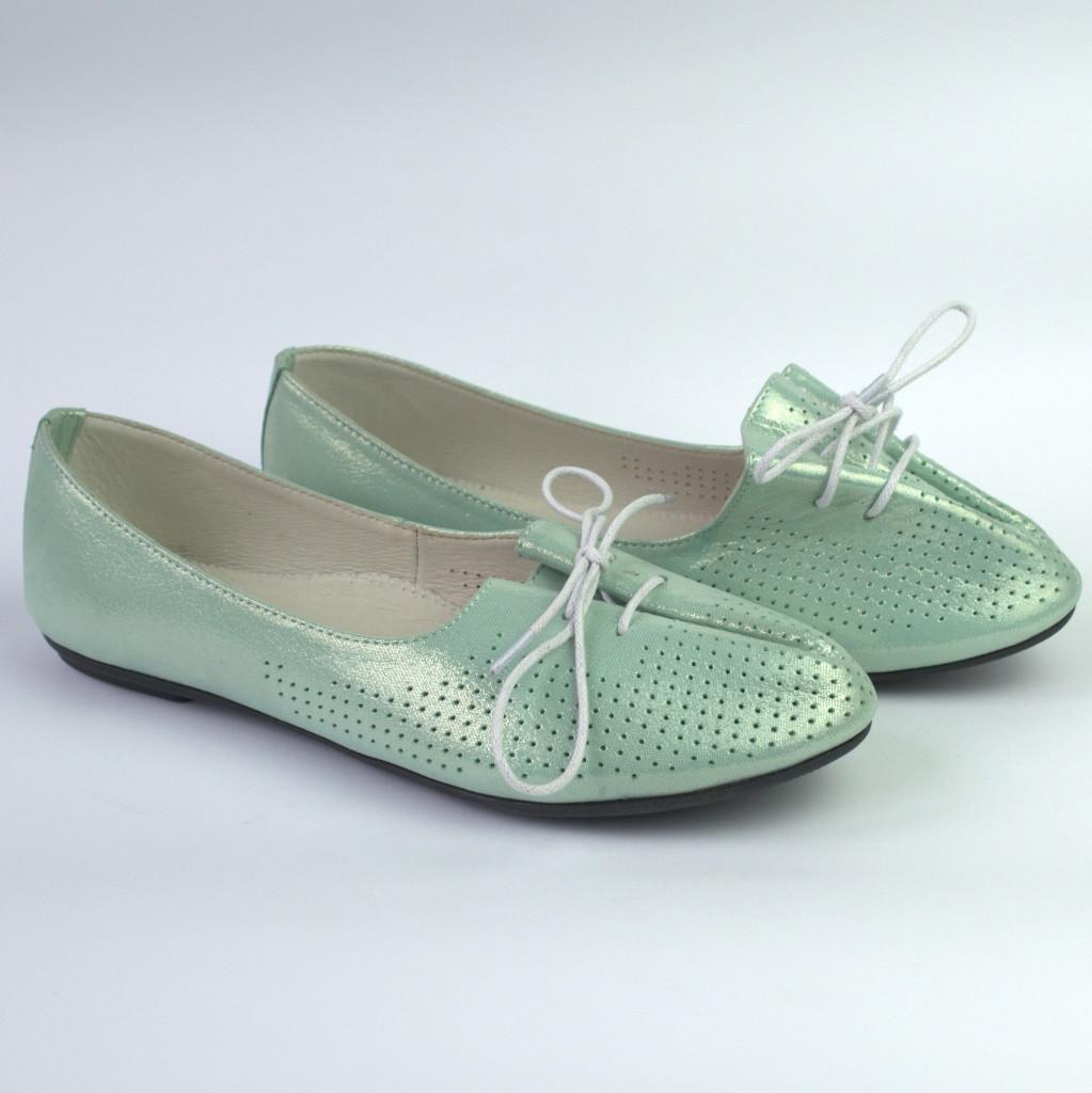 Балетки жіночі шкіряні бірюзові жіноче взуття Jashagama V Turquoise Green Leather by Rosso Avangard
