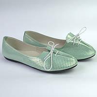 Балетки жіночі шкіряні бірюзові жіноче взуття Jashagama V Turquoise Green Leather by Rosso Avangard, фото 1