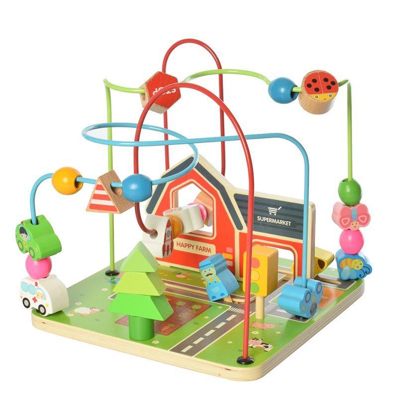 Деревянная игрушка Лабиринт MD 2053  на проволоке, в кор-ке, 23-22-22, 5см