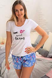 Пижама футболка + шорты П004 Фламинго