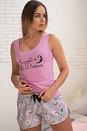 Майка + шорты П008 Розовые барашки