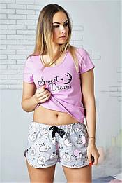 Пижама футболка + шорты П009 Розовые барашки