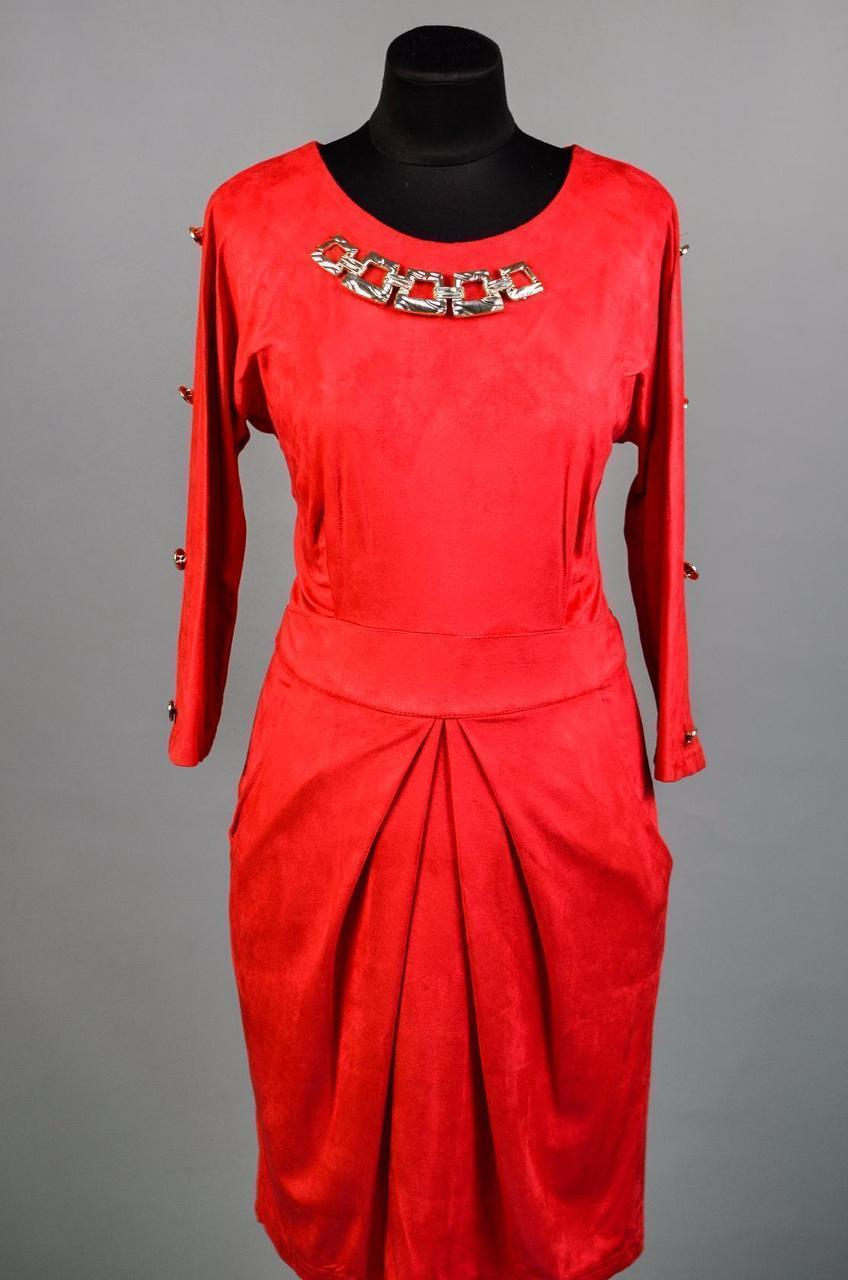 """Восхитительное женское платье с украшением на груди ткань """"Эко-Замш"""" 48 размер батал"""