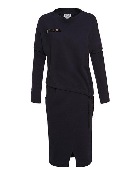 Платье тёплое женское синее Modna KAZKA