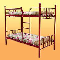 Металлическая кровать двухярусная без  матраса