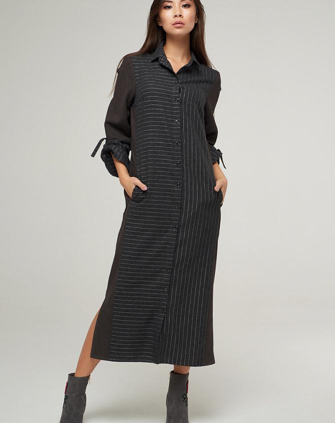 Женское платье - рубашка комбинированное в полоску серое