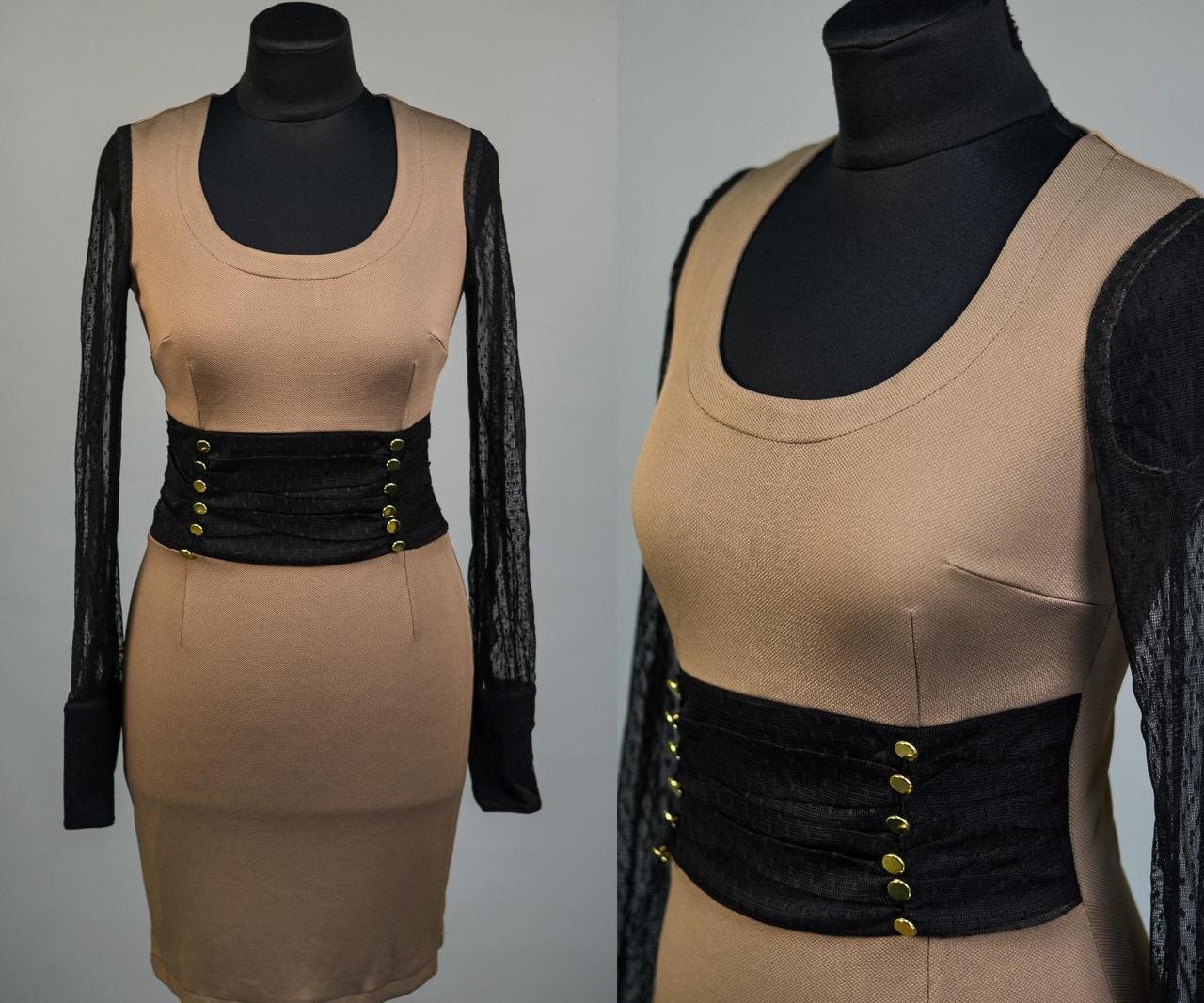 """Элегантное женское платье с рукавами из стрейч-сетки, ткань """"Плотная кукуруза"""" 42 размер норма"""
