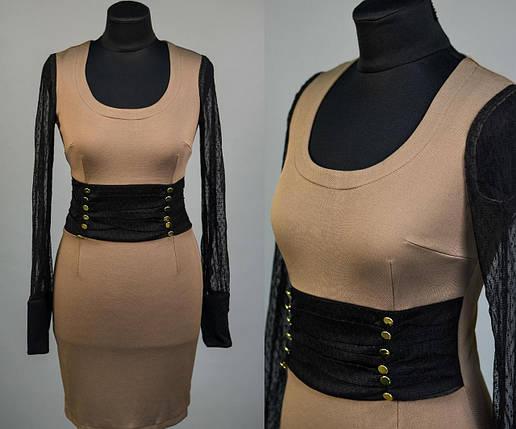 """Элегантное женское платье с рукавами из стрейч-сетки, ткань """"Плотная кукуруза"""" 42 размер норма, фото 2"""