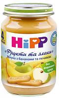 """Фруктово-злаковое пюре яблоки с бананами и печеньем """"Фрукты и злаки"""" хипп hipp HIPP"""