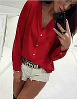 """Легкая базовая блузка свободного кроя с V-образный вырезом """"Камилла"""" однотонная красная"""