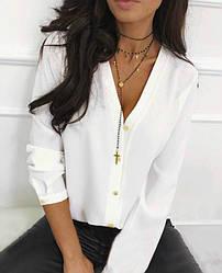 Белая офисная легкая свободная блузка с V-образный вырезом длинный рукав