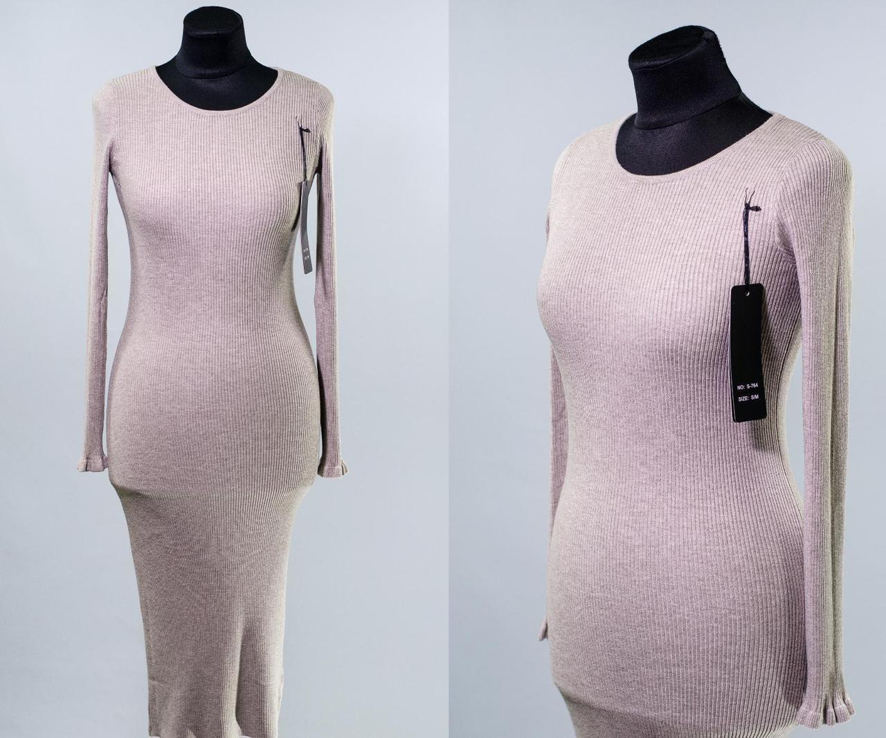 """Изящное женское платье ткань """"мягкий трикотаж рубчик"""" 44 размер норма"""