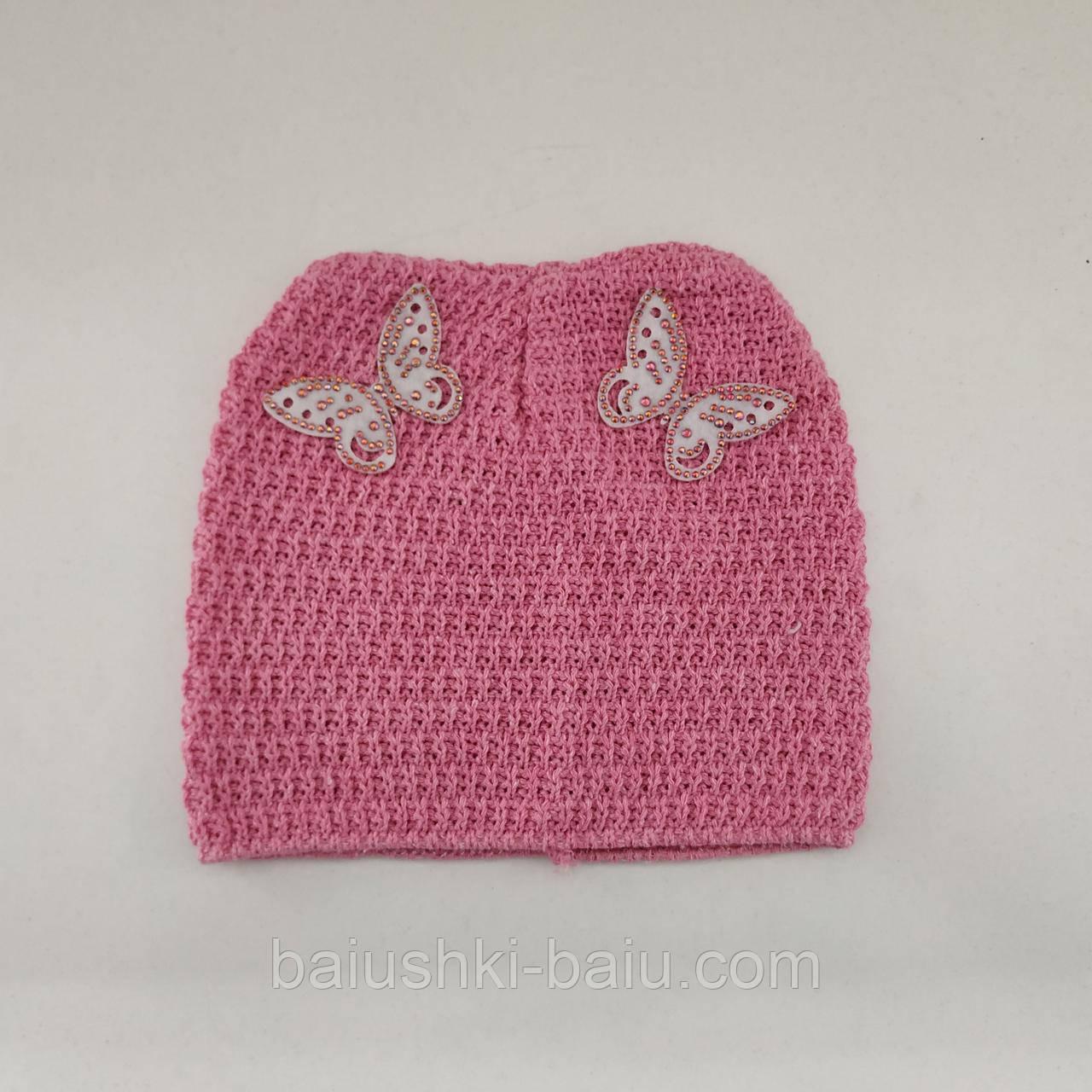 Вязаная летняя шапочка для девочки, р. 6-9 мес (276)