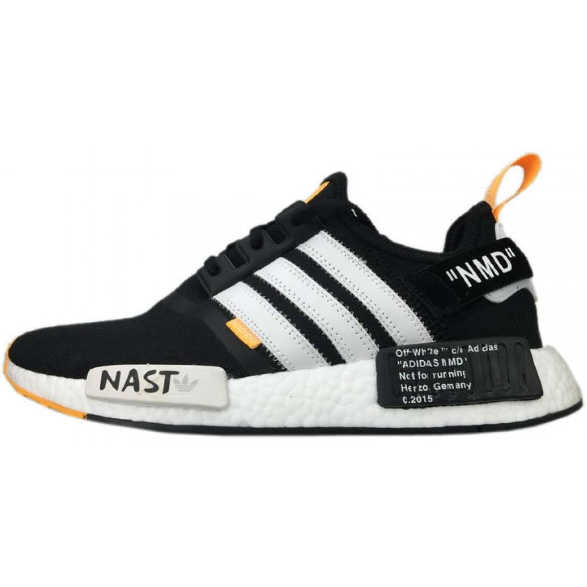 Кроссовки мужские Adidas NMD x Off-White (черные-белые-оранжевые) Top replic