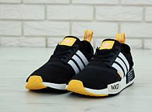 Кроссовки мужские Adidas NMD x Off-White (черные-белые-оранжевые) Top replic, фото 2