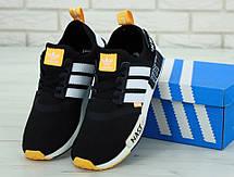 Кроссовки мужские Adidas NMD x Off-White (черные-белые-оранжевые) Top replic, фото 3