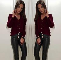 """Бордовая легкая классическая блузка свободного кроя с V-образный вырезом """"Камилла"""""""