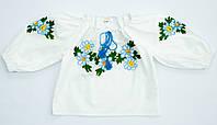 Детская белая хлопковая вышиванка для девочки с яркой вышивкой Ромашка голубая реглан Piccolo L