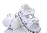 Детские белые сандалии на липучках для девочек Размеры 20-24