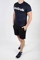 Футболка Reebok синяя + шорты черные мужские летние, фото 1