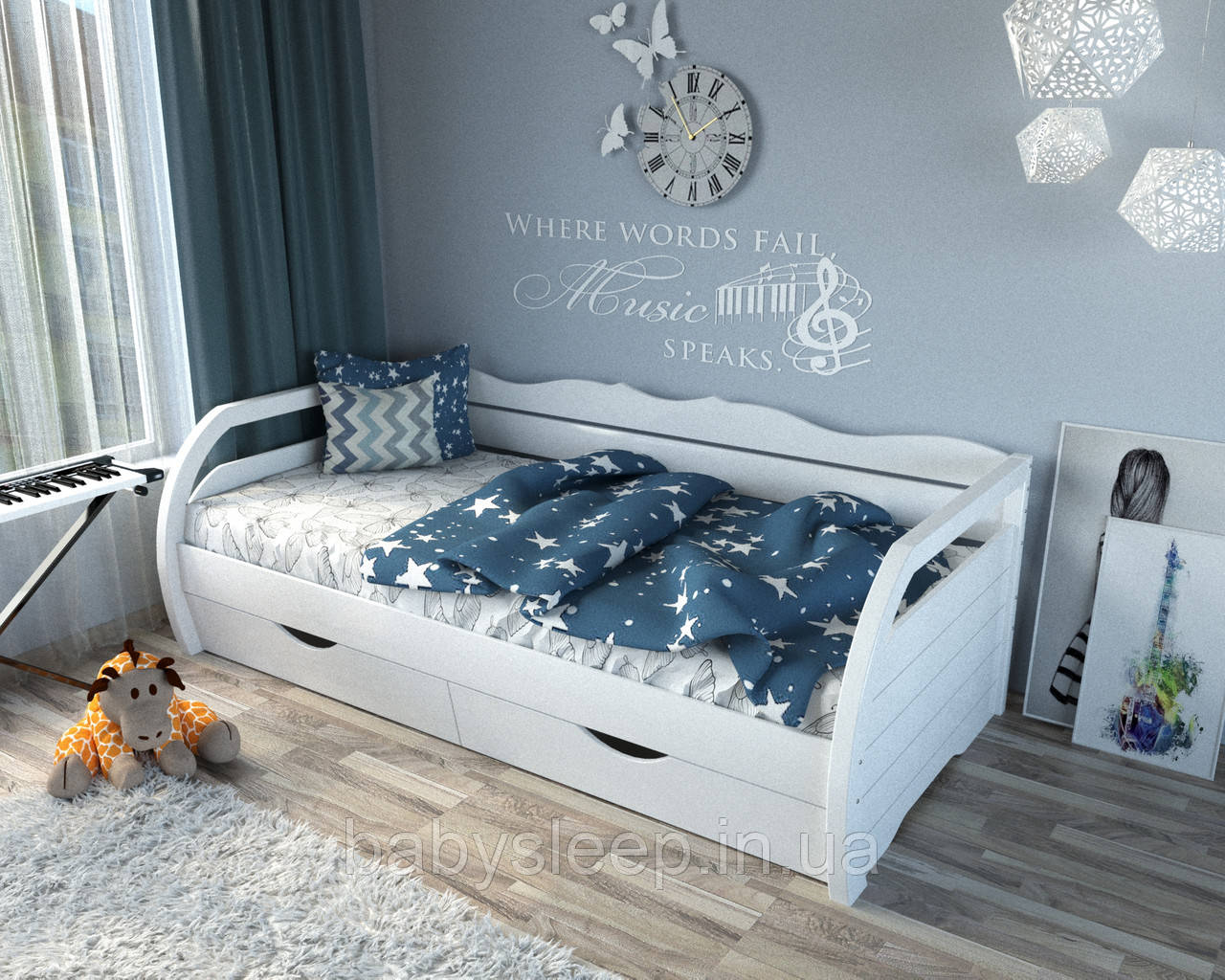 """Кровать подростковая """"Бонита"""" белая"""