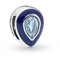 Клипса «Сверкающая голубая капля» Pandora Reflexion копия